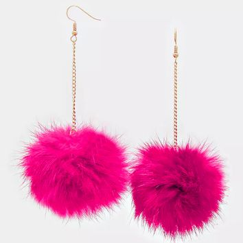 "4.5"" rabbit fur pom pom dangle Earrings"