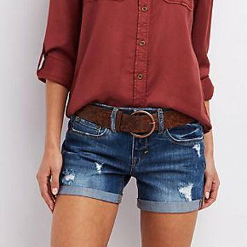 DOLLHOUSE BELTED DISTRESSED SHORTS