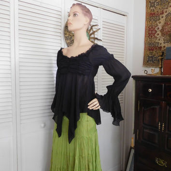 Peasant Blouse Off The Shoulder Top Wench Blouse Scoop Neck Ruffled Bell Sleeves Renaissance Gypsy Blouse Black Blouse Tattered Sleeves