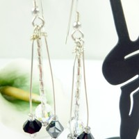 Black and Clear AB Faceted Swarovski Crystal Beaded Sterling Earrings