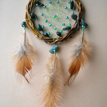 Small Dreamcatcher with green stones