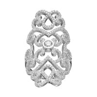 Cubic Zirconia Sterling Silver Filigree Ring (White)