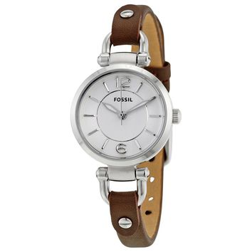 Fossil Womens ES3861 Silver Case with Brown Leather Band Watch