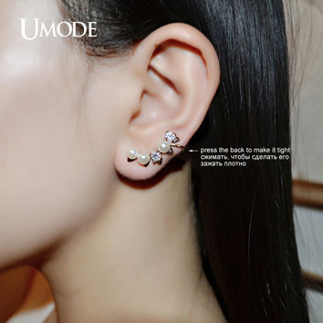 UMODE Modern Simulated Pearl Round Cut Clear Cubic Zirconia Gold-color Mismatched Ear Cuff Earrings Jewelry for Women UE0181A