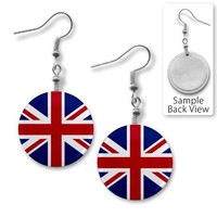 ENGLAND UK UNION JACK World Flag 1 inch Dangle Earrings