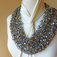 Glitz White Camel  Trellis Ribbon Ladder Yarn Scarf Necklace