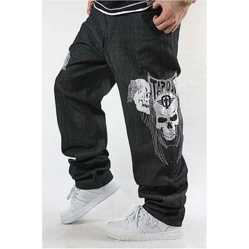 Fashion Jeans Men Black Denim Pants Skulls Embroidery Loose Hip Hop