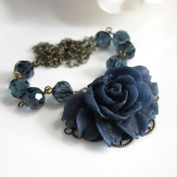 Vintage Style Shabby Chic Blue Navy Rose Flower Necklace. Blue Faceted Glass Beads, Designer Antiqued Chain Necklace. Bridal Wedding Gift