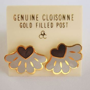 Gray Black Cloisonné Post Earrings On Card Gold Filled Posts Jewelry