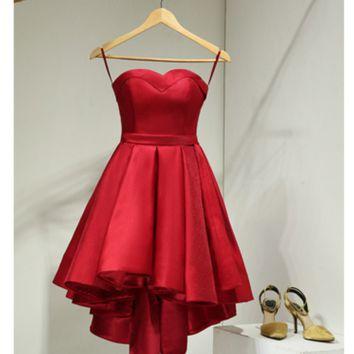 The new version before the long and short red strapless wedding dress wedding dress