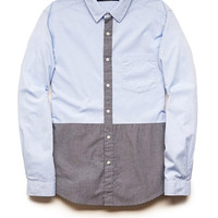 Colorblocked Button-Down Shirt Grey/Blue