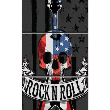 3 Panel Red White Blue Rock N Roll Skull Guitar Wall Art Panel Picture Print