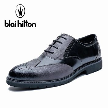 Blai Hilton 100% Genuine Leather Brogue Business Formal Dress Men Shoes Classic Office Wedding Mens Shoes Casual Oxford  Shoes