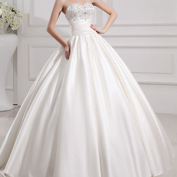 Peace/women clothing/wedding gown/bridal dress/sweetheart neckline/custom made/beading/13014
