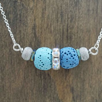 Blue Lava Stone Aromatherapy Necklace Essential Oil Diffuser Necklace