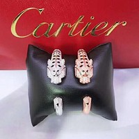 Cartier high quality new fashion more diamond leopard head couple opening bracelet