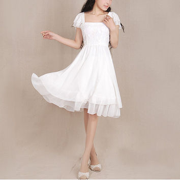 White Chiffon dress Lace dress women dress fashion dress Long sleeve dress---WD050
