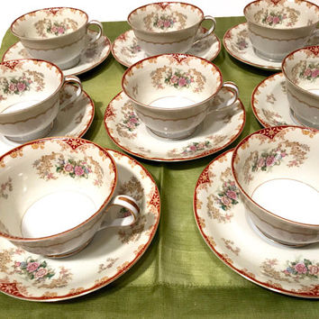 Noritake China Cardinal Tea Cup, Set Of 8, Pink Blue Yellow Flowers, Red Edging, Scrolls, Gold Trim, Pattern 4731,  1940's Vintage Tea Cup