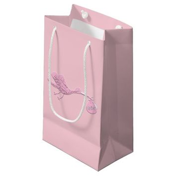 Pink Stork Delivering Girl Small Gift Bag
