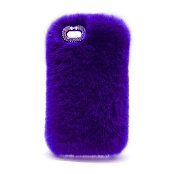 Protective Case Cover For iPhone Luxury Design Cute Rabbit Fur Phone Case Fashionable Fluffy Warm Mobile Phone