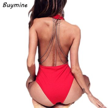 Sexy Swimsuit with Backless Body Chain