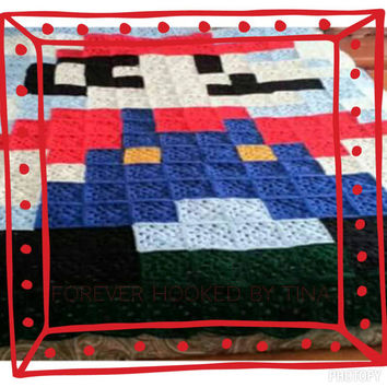 8 bit Mario afghan, Game Room Afghan, Man Cave blanket, twin size blanket, Mario throw