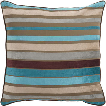 Surya Velvet Stripe Throw Pillow Brown, Blue