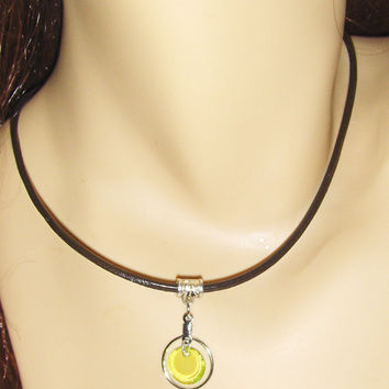 Leather Choker Necklace With Silver Hoop and Lime Green Dangle Charm - 16""