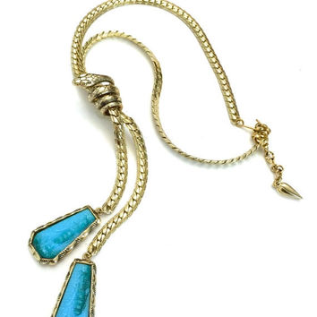 Whiting & Davis Lariat Egyptian Revival Necklace, Coiled Snake, Two Embosed Glass Blue Egyptian Pendants
