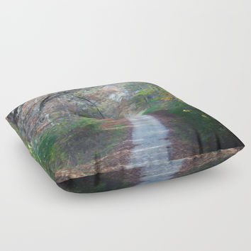 Country Road In The Fall Floor Pillow by Theresa Campbell D'August Art