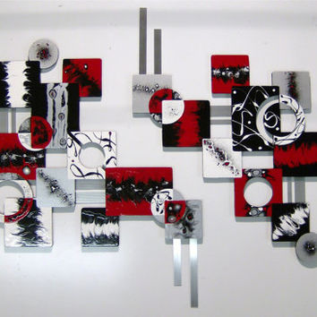 BOLD 2pc Red Black Contemporary Modern Geometric Abstract Wood Metal Wall Sculpture 84x56
