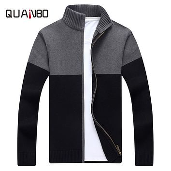 QUANBO Brand Men's Clothing Cardigan Men Sweaters 2017 New Arrival Autumn Knitwear Zipper Pullover Fashion Male Patchwork coat