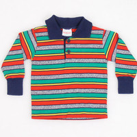 Vintage Toddler Boy Shirt 1980s 80s Thin T Shirt Polo Shirt Tshirt Rainbow Striped Health Text Shirt 2t 2 Toddler Boys Preppy Long Sleeve