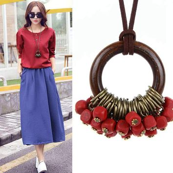 Vintage Wooden Round Beads Long Necklace