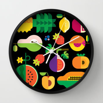 Fruit Medley Black Wall Clock by Christopher Dina | Society6