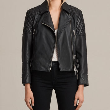 ALLSAINTS US: Womens Ainsdale Leather Biker Jacket (Black)