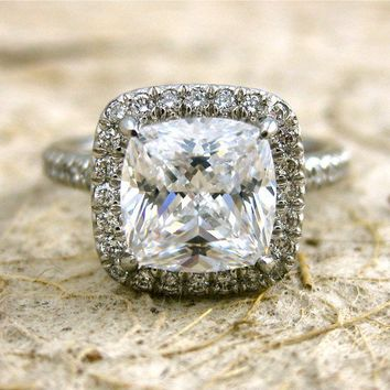 Platinum Micro Pave Diamond Engagement by AdziasJewelryAtelier
