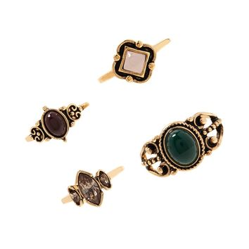 Faux Gem Midi Ring Set