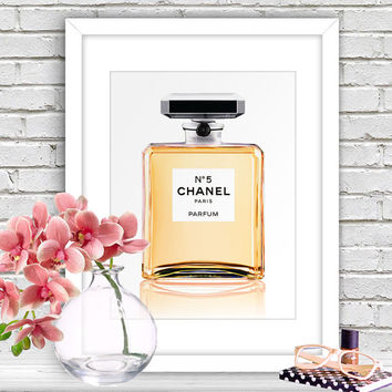 Chanel No.5 Perfume Bottle - Fashion Illustration, Inspirational Print, Motivational Poster, DIY printable Gift Idea, Dorm Wall Decor CP-739