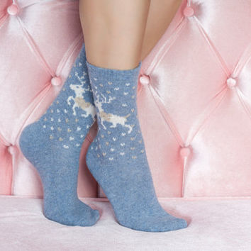 Blue Christmas deer Socks girlfriend gift