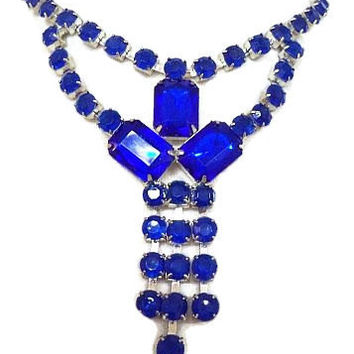 "Blue Rhinestone Bib Necklace Emerald Cut Silver Metal 1980s Fashion 18"" Vintage"