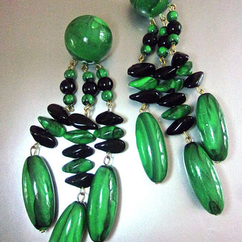 Lucite Malachite Chandelier Dangle Earrings, Green & Black, 4 inches, Vintage
