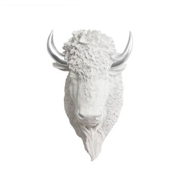 The Yellowstone | Mini Buffalo Bison Head | Faux Taxidermy | White + Silver Horns Resin