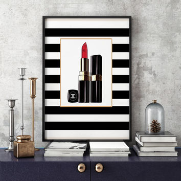 Makeup Print Lipstick Print Chanel PINK LIPSTIC Makeup Art Print Makeup Painting Glam Room Chanel Print Fashion Fashion illustration