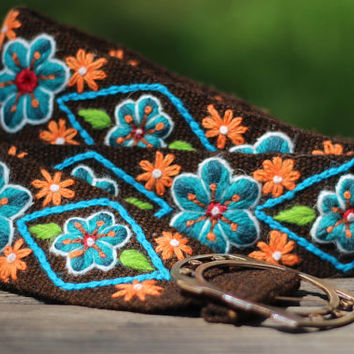 "Brown Hand Embroidered Wool Belt from Peru, Flowers and Leaves, Size Medium/Large (Waist 31-40""), 100% Wool, Free shipping to US!"