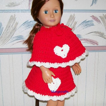 18 Inch Doll, Crochet, Handmade, Doll Accessories, Doll Poncho, Doll Skirt, American, Valentine Dress, Crochet Doll Clothes, Girl Gift