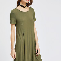 Olive Green Short Sleeve Swing Godet Dress -SheIn(Sheinside)