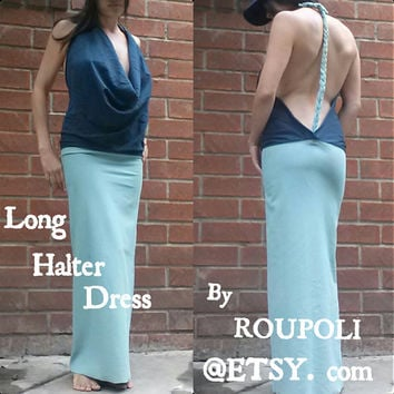 Long Halter Dress Open Back Braid Adult Size XS/S by Roupoli