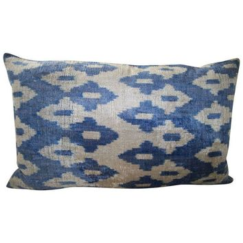 Pre-owned Mineral Blue and Cream Silk Velvet Ikat Pillow