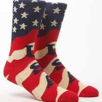 On The Byas Country Grammar Crew Socks - Mens Socks - Red/White/Blue - One